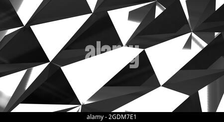 3D render abstract pattern triangle geometric shapes on black and white textured surface. Fractal background with large copy space