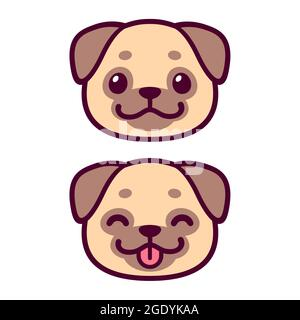 Cute cartoon pug face drawing. Kawaii dog portrait smiling with tongue out. Vector clip art illustration.