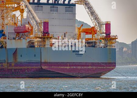 Oil exploration platform anchored in Guanabara Bay, Rio de Janeiro, Brazil