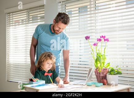boy study with teacher. private drawing lesson. education concept. homeschooling and help.