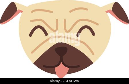 Cute pug dog face with tongue sticking out. Happy pet animal concept. Illustration in flat hand drawn style.
