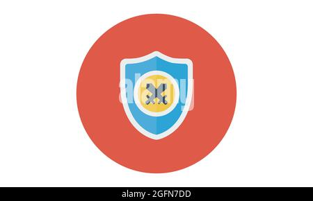 vector shield icon, flat design best shield icon, sword icon conception with shield icon