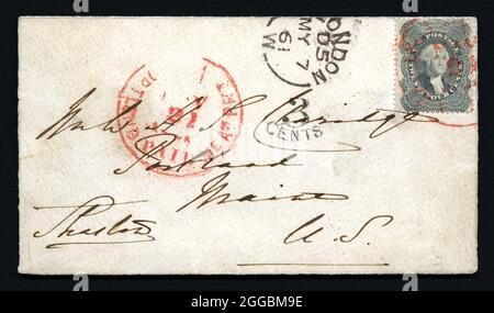 24c Washington used abroad at London on cover, 1861. This cover is said to be addressed in Charles Dickens' handwriting. The U. S. Stamp was apparently sent to Dickens in England to ensure a reply. He put the stamp on his reply and it was canceled upon arrival in Portland, Maine.