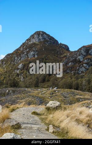 View with hiking trail leads to Ben A'an hill in Trossachs National Park at autumn, Scottland