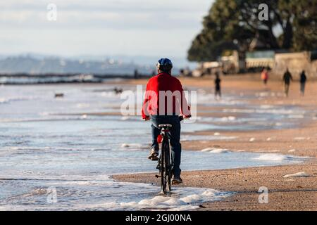 A cyclist riding along Milford beach in Auckland, with out-of-focus people walking and dogs playing on the beach.