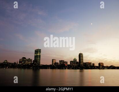 Boston Skyline at twilight from the Charles River