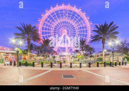 ORLANDO, FLORIDA, USA - JANUARY 05, 2016: The Orlando Eye on International Drive, The orlando eye is a 400 feet tall ferris wheel in the heart of Orla