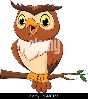 Cute Owl bird cartoon vector illustration
