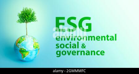 ESG modernization environmental social governance conservation and CSR policy. Earth globe with growing tree on blue background. Ecology and nature protection concept. High quality photo