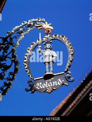 D-Quedlinburg, Bode, Harz Foreland, Saxony-Anhalt, cafe restaurant Zum Roland, sign Roland, UNESCO World Heritage - Stock Photo