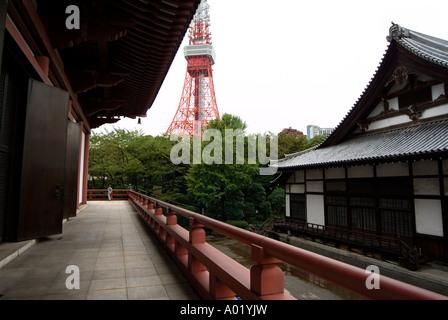 San'en-zan Kodo-in Zojoji (Zojoji Temple). Tokyo tower on back. Minato-ku district. Tokyo. Japan. - Stock Photo