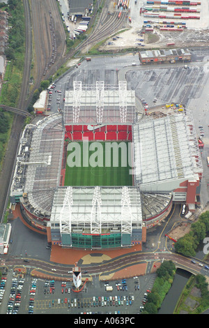 Aerial view of Manchester United Football Club, also known as Old Trafford, home to the Red Devils, Man U, United - Stock Photo