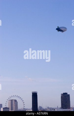 The world s largest commercial airship The Spirit of Dubai flying over London - Stock Photo