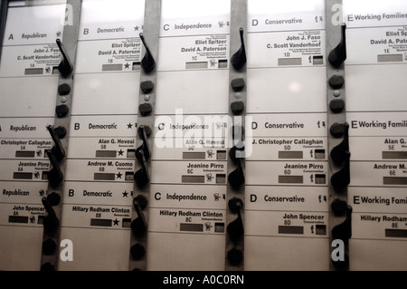 A mechanical voting machine in New York City displays the New York State ballot - Stock Photo