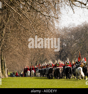 Household Cavalry training exercise horseback No model release required: long shot, back views, uniforms make all - Stock Photo