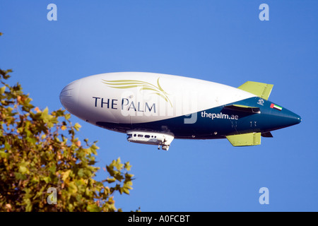 The Spirit of Dubai Airship, the world s largest commercial zeppelin, on its journey from London to Dubai on 9th - Stock Photo