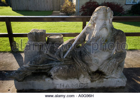 Sculpture of Old Father Thames at St John's Lock on River Thames near Lechlade - Stock Photo