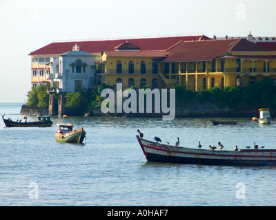 Pelicans resting on fishing boats early in the morning. El Terraplén, Old Quarter, Panama City, Republic of Panama - Stock Photo