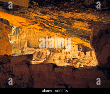 Long House Framed by Walls Wetherill Mesa Mesa Verde National Park Colorado - Stock Photo