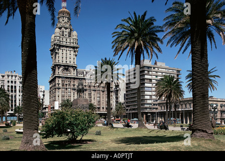 Statue of Artigas Plaza Independecia between old and new town Montevideo Uruguay South America - Stock Photo
