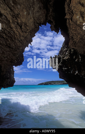 Looking out from the cave at Navio Beach Vieques Island Puerto Rico - Stock Photo