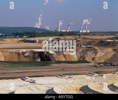 Brown coal mining Bergheim near Cologne Germany Europe - Stock Photo