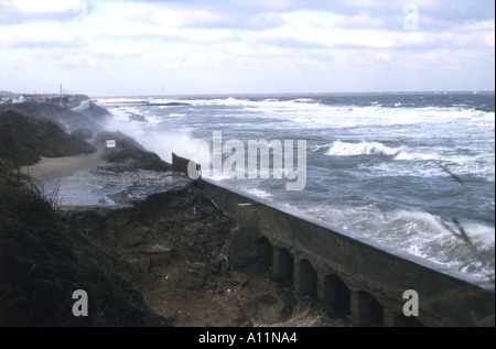 Seawall breach at Caister-On-Sea in Norfolk, England, 1997 - Stock Photo