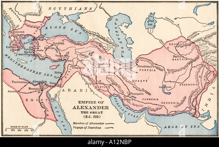Map of the empire of Alexander the Great in 323 BC. Color lithograph - Stock Photo