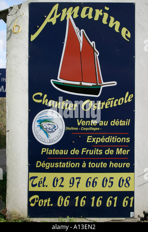 Oyster farm sign Brittany featuring Sinagote local fishing boat - Stock Photo