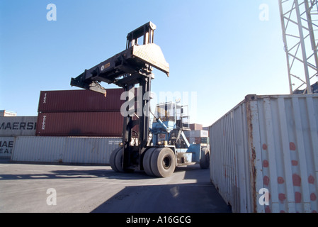 so called stacker in container terminal - Stock Photo