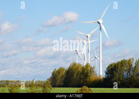 Six wind wheels - Stock Photo