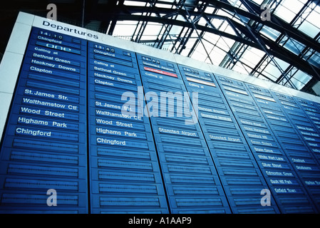 Departure board at Liverpool Street station London - Stock Photo