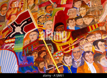 Detail, mural, General Jose Maria Morelos, Jose Maria Morelos, Allende Institute, San Miguel de Allende, Guanajuato - Stock Photo