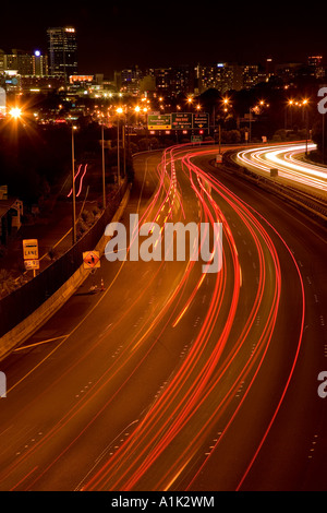 Northern Motorway at night Auckland North Island New Zealand - Stock Photo