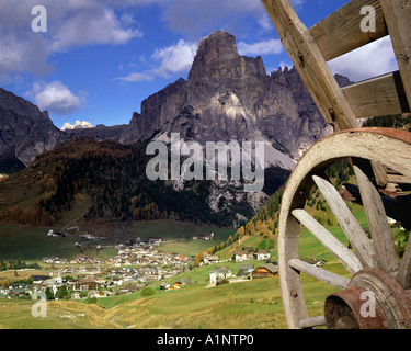 IT - DOLOMITES:  Corvara and Sassongher Mountain - Stock Photo