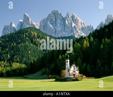 IT - TRENTINO  St. Johann in Ranui in Villnöss Tal or Val di Funes - Stock Photo