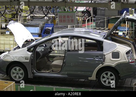 A Toyota Prius hybrid car being assembled on the production line at the Tsutsumi factory in Toyota City, Nagoya, - Stock Photo