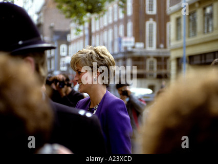 HRH DIANA -PRINCESS OF WALES VISITS THE ARTS COUNCIL IN GT PETER ST WESTMINSTER LONDON UK - Stock Photo