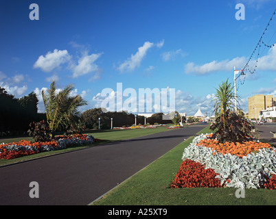SEAFRONT PROMENADE lined with floral gardens.  Southport Merseyside England UK - Stock Photo