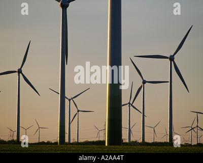 windpark Parndorf Austria wind wheels in the evening - Stock Photo