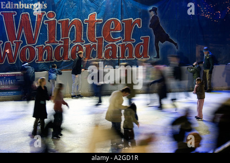 Ice skating Winter wonderland, Edinburgh. Scotland. - Stock Photo