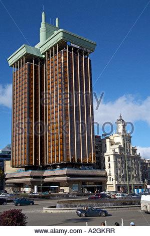 Barclays bank Skyscraper viewed from  Plaza de Colon, Madrid SPAIN - Stock Photo