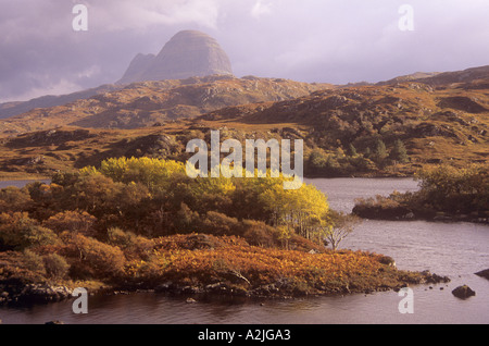 Looking over Loch Druim Suardalain to Suilven near Lochinver Assynt Sutherland Scotland - Stock Photo