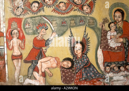 Old wall painting murals showing beheading of John the Babtist in Kebran Gabriel orthodox christian monastery on - Stock Photo