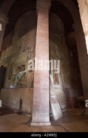 Old urestored wall painting murals in Kebran Gabriel or Kibron Gebriel orthodox christian monastery church on Lake - Stock Photo