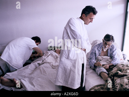 Socolitz, Bosnia, Sept 1992: wounded Bosnian Serb soldiers under treatment in Socolitz hospital - Stock Photo