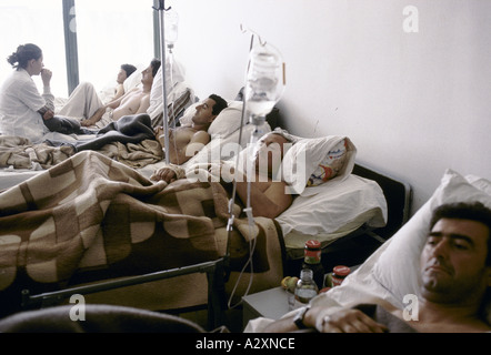 Socolitz, Bosnia, Sept 1992: wounded Bosnian Serb soldiers under treatment in Socolitz  hospital. - Stock Photo