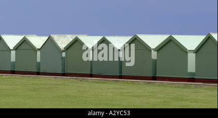 Rear view of a row of beach huts, Brighton, England - Stock Photo