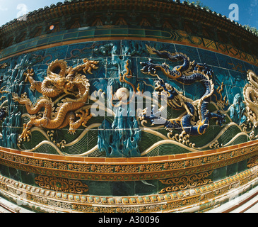Nine dragon murals in Beihai Park - Stock Photo