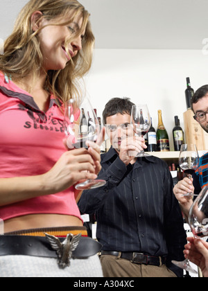 Group of friends at wine tasting toasting - Stock Photo